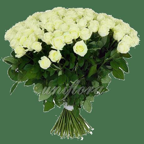 Букет импортных белых роз Мондиаль 101 шт