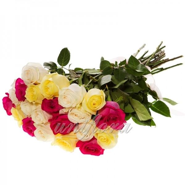 """Букеты роз """"Микс"""" из 25 штук (импорт)"""