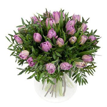 Букет из 37 лиловых тюльпанов и зелени