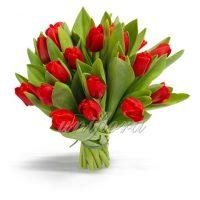 Букет из 21 алого тюльпана