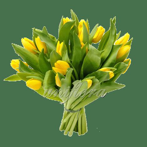 Букет из 21 желтого тюльпана