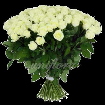 Букет из 101 белой розы   Мондиаль (импорт)