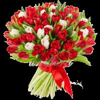 Букет тюльпанов микс красных и белых