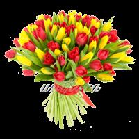 Букет тюльпанов микс красных и желтых