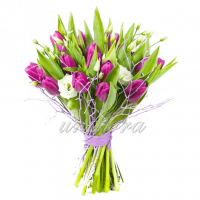 Смешанный 7 19 тюльпанов, 3 эустомы