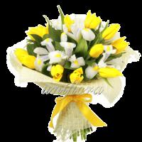 С оформлением 2 Микс тюльпаны и ирисы